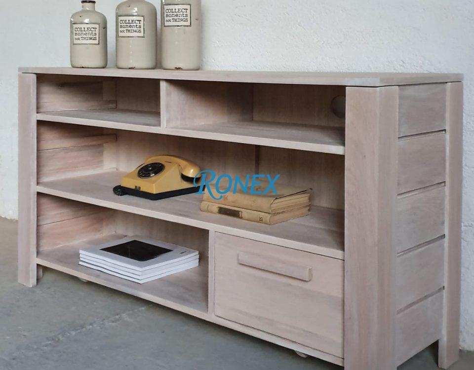 Comodă DUBLIN din lemn masiv cu un sertar, pentru aparatură audio-tv, dimensiuni 135/40/75 cm