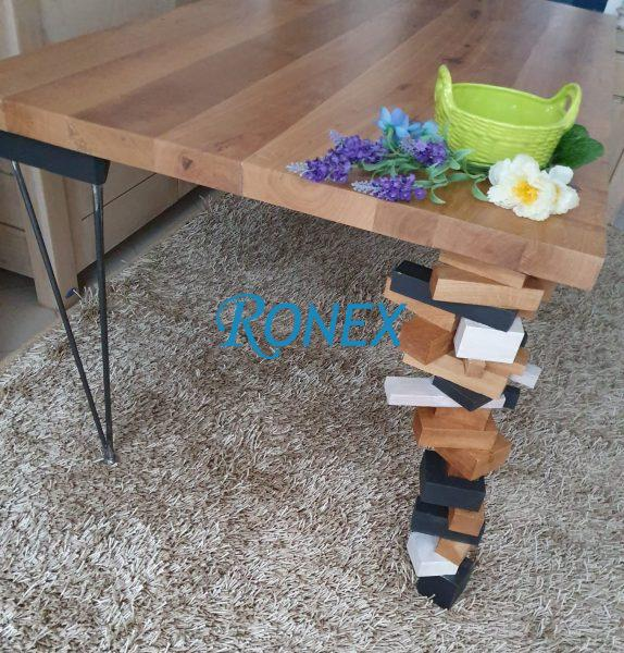 Masa AERO din lemn masiv de stejar si picioare metalice