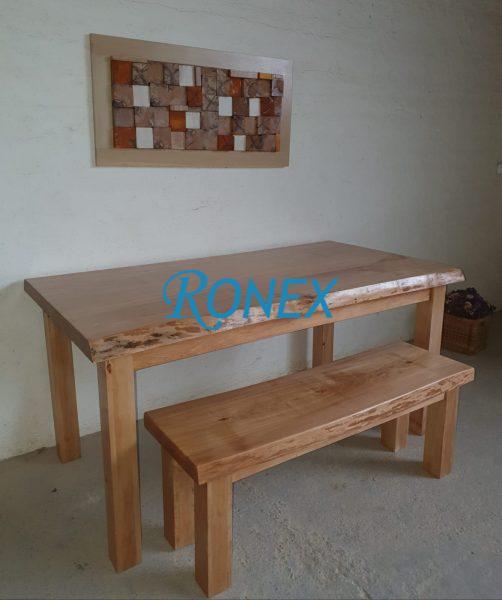 Masă și băncuţă din lemn masiv ARHITECT WILD