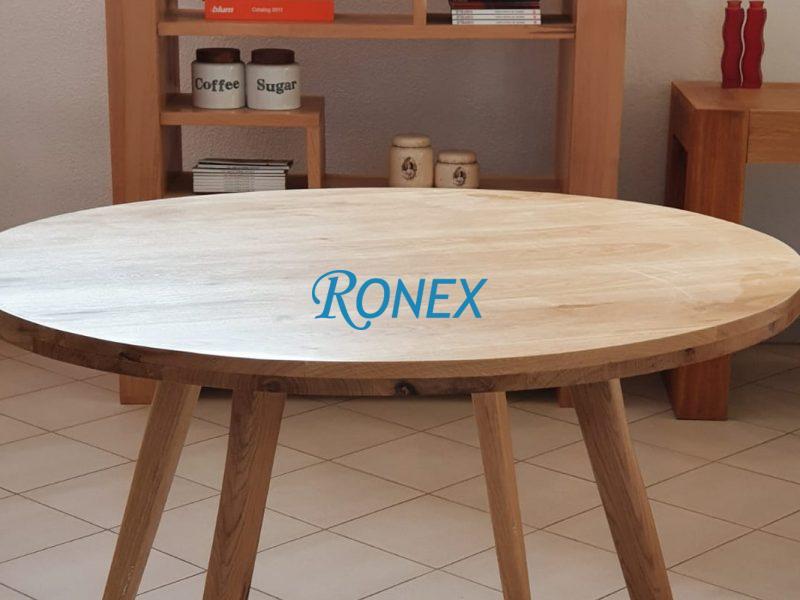 Masă rotundă din lemn masiv de stejar, diametru 110 cm